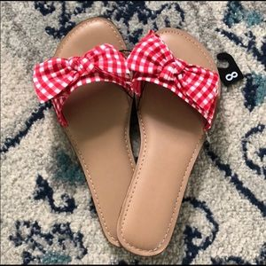 New Gingham Bow Sandals
